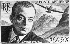 FRANCE - JANUARY 09: On January 9, 1958, the P.T.T. (Post office, Telecommunications and Television-broadcasting) released a new stamp bearing the image of the French aviator Antoine DE SAINT-EXUPERY. The surcharge went to French mutual aid. (Photo by Keystone-France/Gamma-Keystone via Getty Images)
