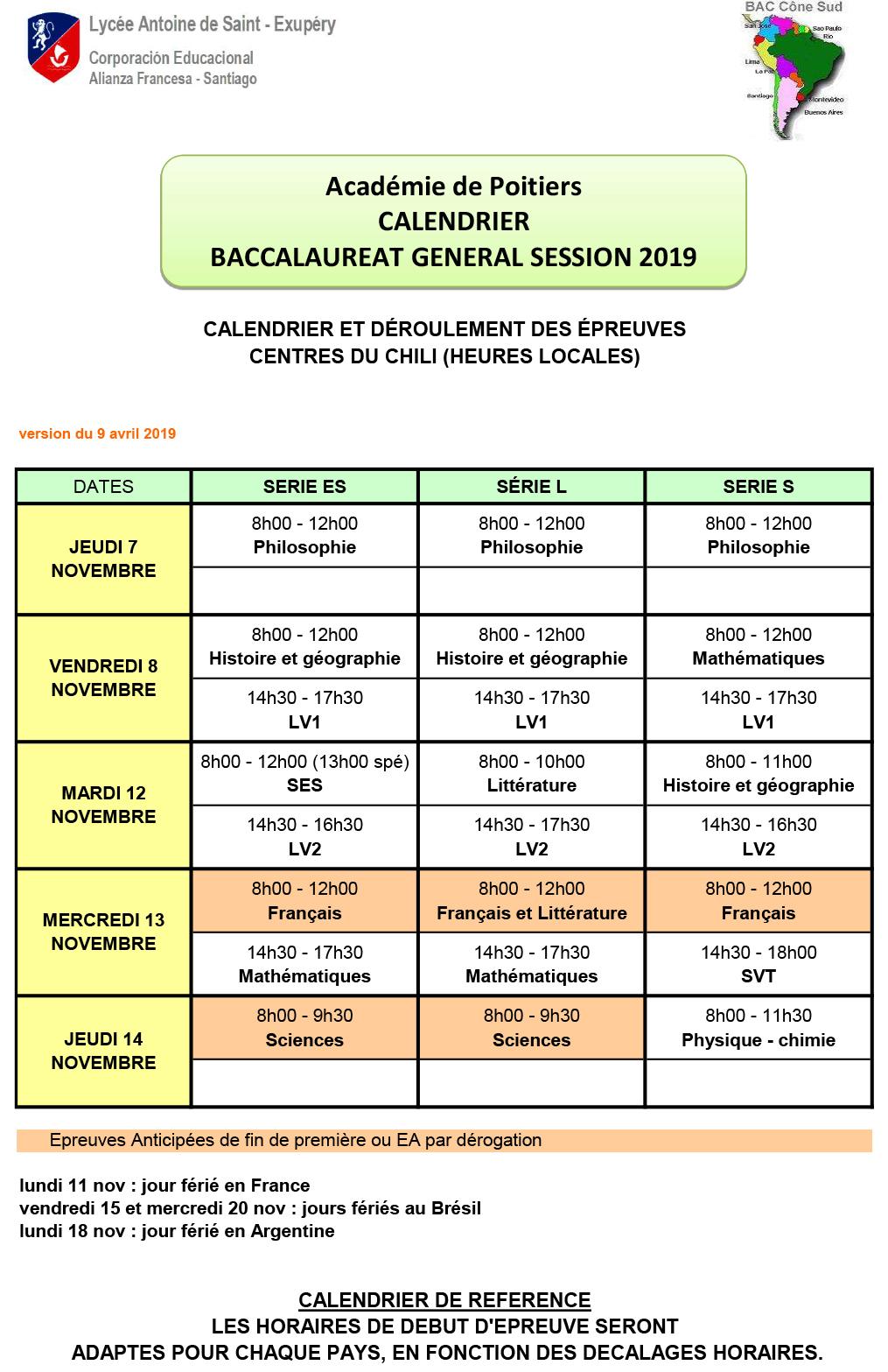 Calendrier Bac Es 2019.Calendrier Des Epreuves Du Bac Session 2019 Lafase