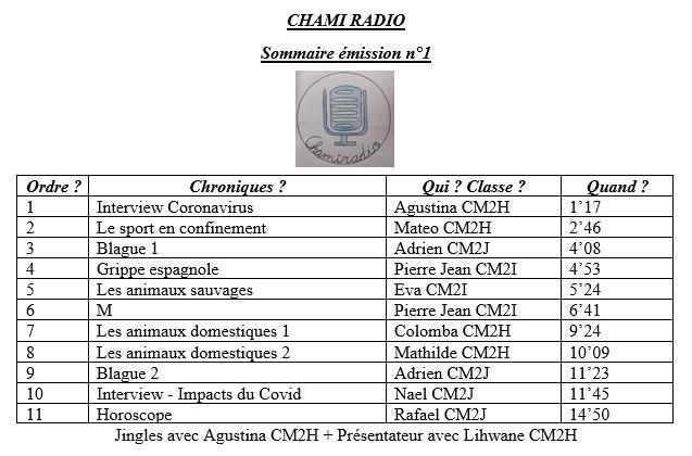 sommaire radio Chamisero